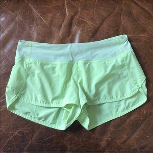 Lululemon neon green speed shorts size 6